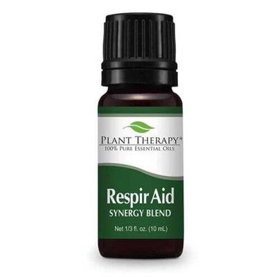 brown bottle with black lid, green label, respir aid synergy blend