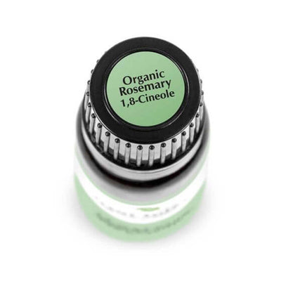 "birds eye view of 10 ml black bottle with green label. reads ""organic rosemary 1,8-cineole"""""