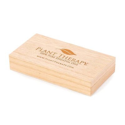 wooden box labeled Plant therapy, 100% pure essential oils