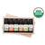 6, 10ml essential oils displayed in wooden box. colors include 3 shades of green, orange, brown, and grey