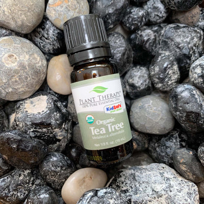 10 ml back bottle with grey label, organic tea tree blend