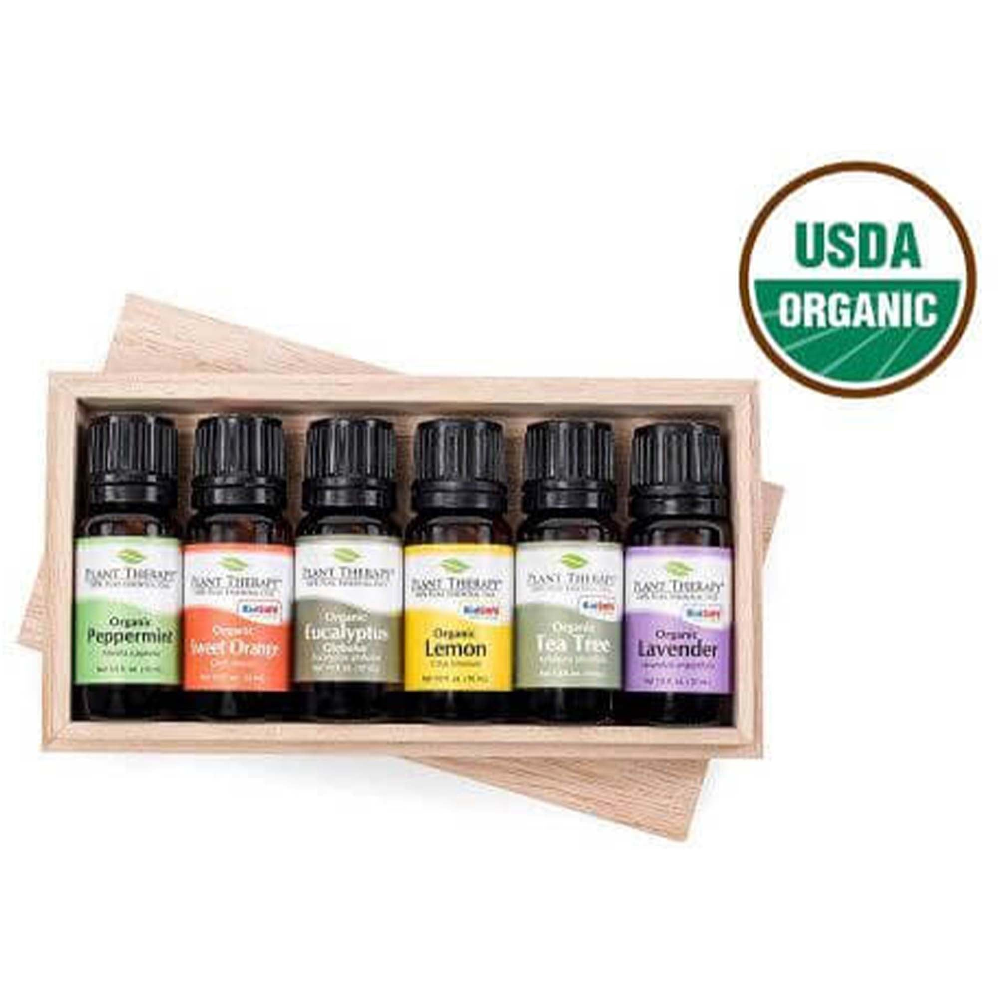 6, 10 mL essential oils in black bottles with black lids in wooden box, usda organic seal