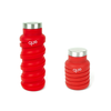 20 oz eco-bottle, red, left view extended, right view coiled/collapsed