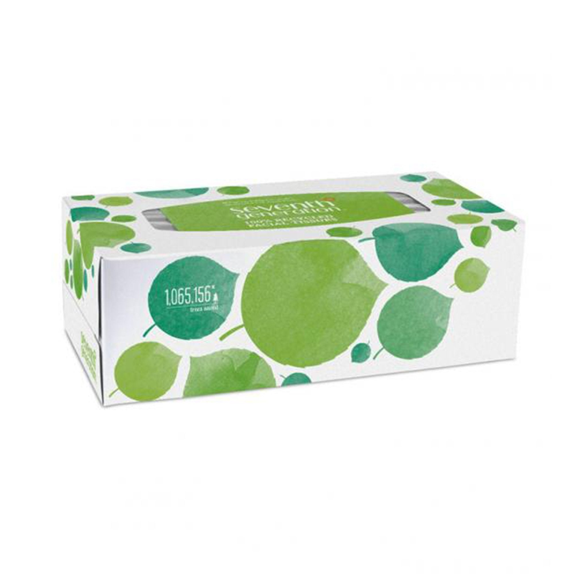 white box with green leaf design. contains 175 tissues.
