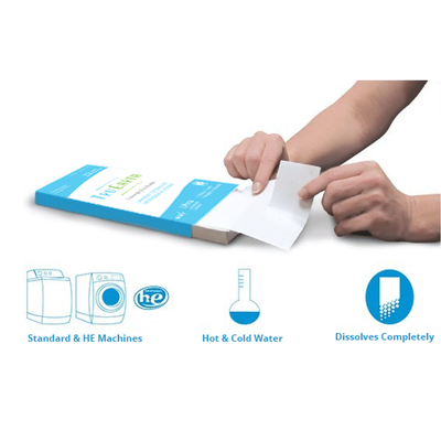 "blue tru earth laundry strip package with two hands tearing white laundry strip . graphis read ""standard & HE machines, hot & cold water, dissolves completely"