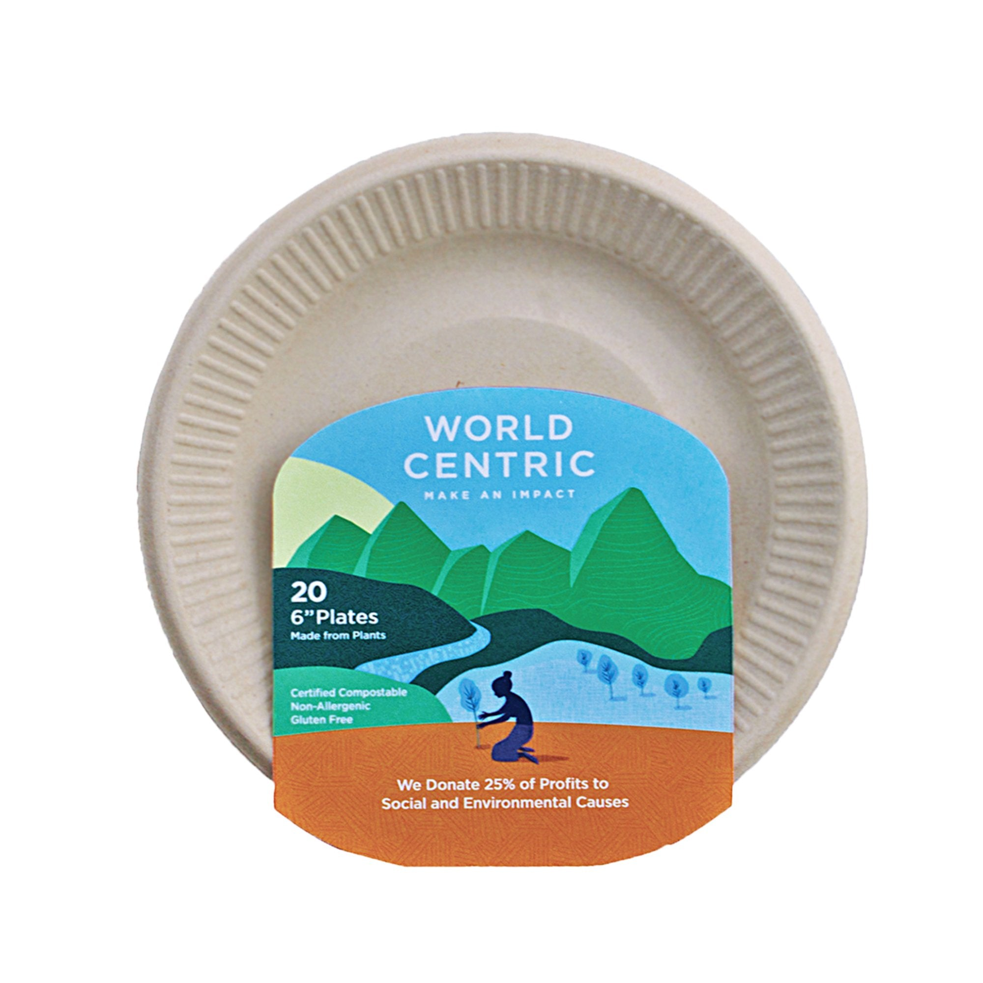 "Compostable 6"" Ripple Edge Plate"