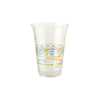 16 oz compostable clear cup with orange, blue, green design