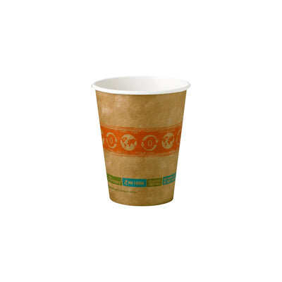 12 oz paper cup for hot beverage. brown with white rim and interior, orange design with blue and green