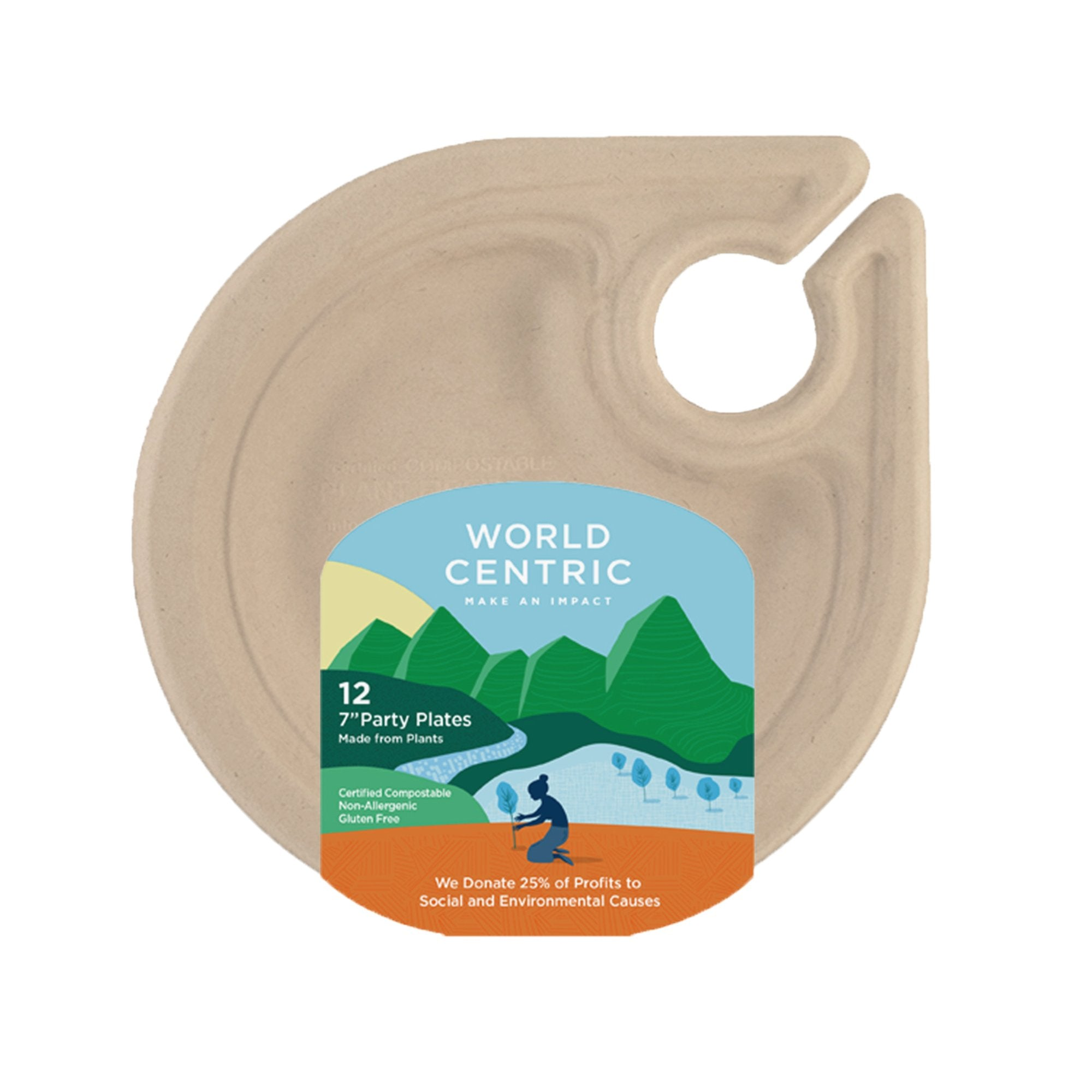 "Compostable 7"" Plate &  Glass Holder"