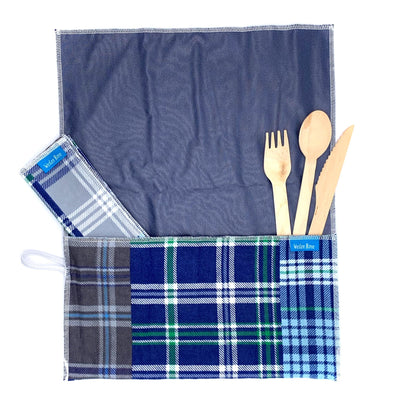 unrolled, anti-microbial place mat.Includes matching napkin, wood cutlery,  Blue plaid mix.