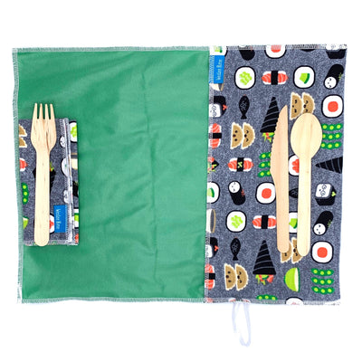 Roll up your reusable utensils and take them on the go for zero waste at lunch or snack time. Open the wrap for a food grade, easy to wipe, anti-microbial place mat.Includes matching napkin. Sushi pattern with bright green interior.