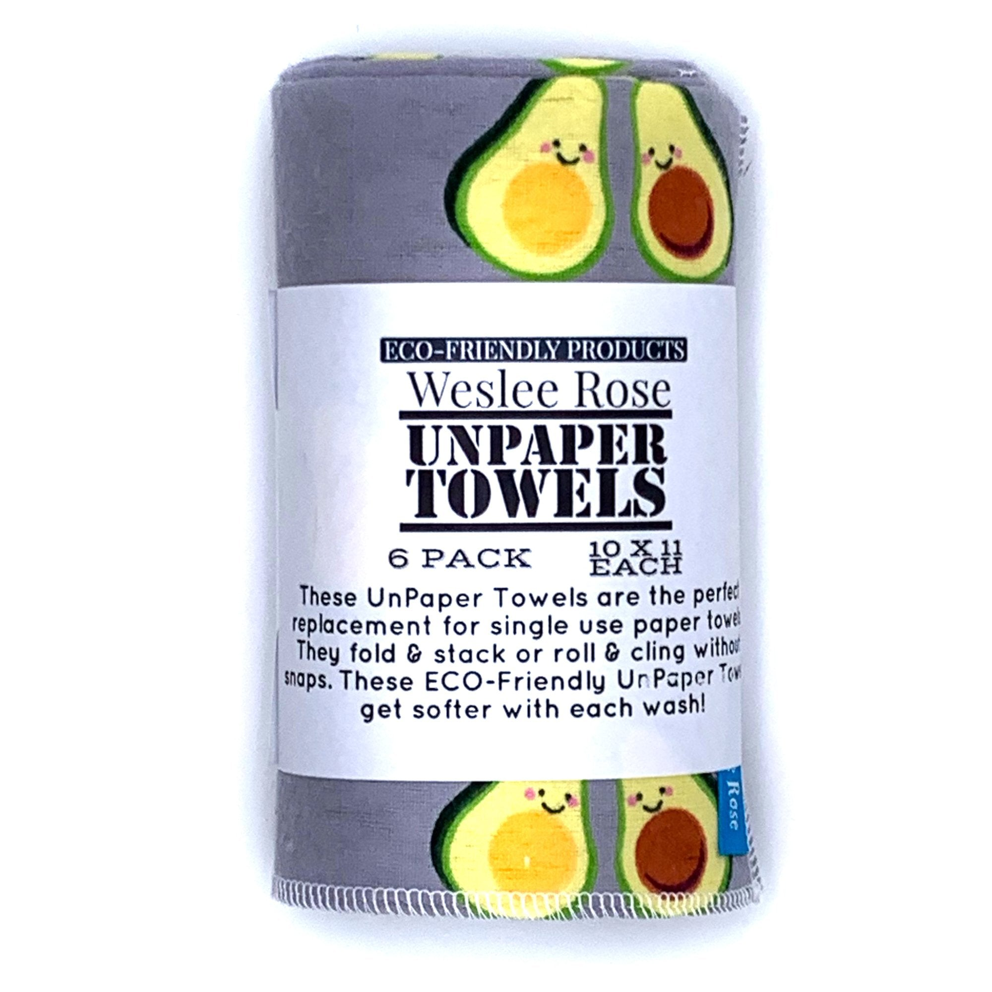 "6 pack of reusable paper towels, 10"" x 11"" Avocado pattern. 100% flannel"