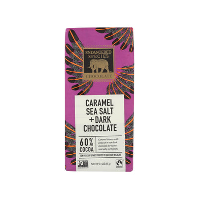 endangered species 3 oz caramel sea salt + dark chocolate bar , featuring endangered species logo with golden elephant