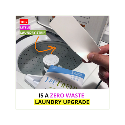 "hand holding white laundry strip over washer machine, blue tru earth package below hand. text reads ""this little laundry strip is a zero waste laundry upgrade"