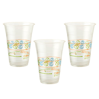 3, 16 oz compostable clear cup with orange, blue, green design