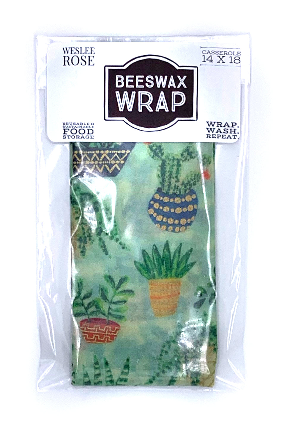 14x 18, beeswax casserole wrap. Food storage, biodegradable, made in the usa.  Succulent Pattern.
