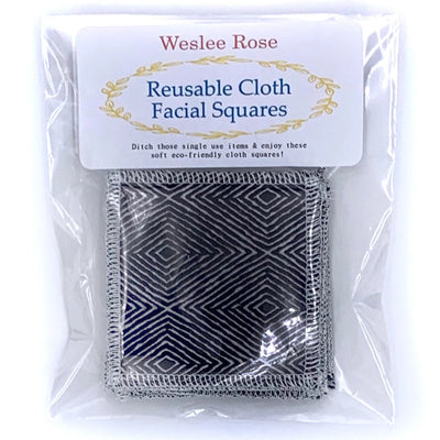 reusable cloth facial wipes in plastic pack. black diamond design