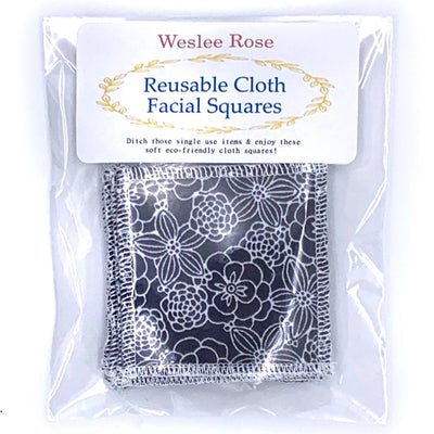 reusable cloth facial wipes in plastic pack. Grey flower pattern.