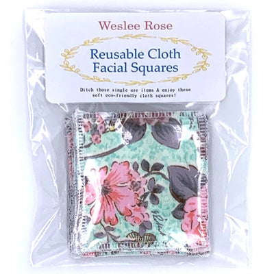 reusable cloth facial wipes in plastic pack. Pink and mint flower pattern.