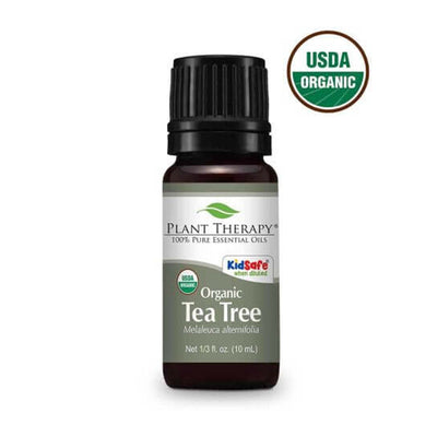 10 ml black bottle with grey label. (organic tea tree oil)