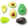 2.5 avocados, three slices, two avocado huggers, one large dark green, one small light green