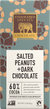 endangered species 3 oz Salted peanuts + dark chocolate bar , featuring endangered species logo with golden elephant