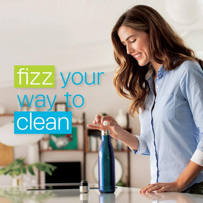 "Woman dropping a tablet into a water bottle (""fizz your way into clean"")"