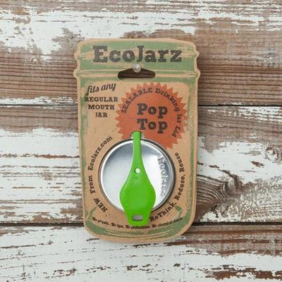 EcoJarz • Reusable drinking jar lid with green pop top.