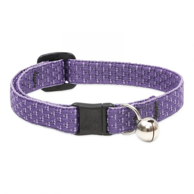 purple colored cat collar with silver bell and plastic tightener and clasp.