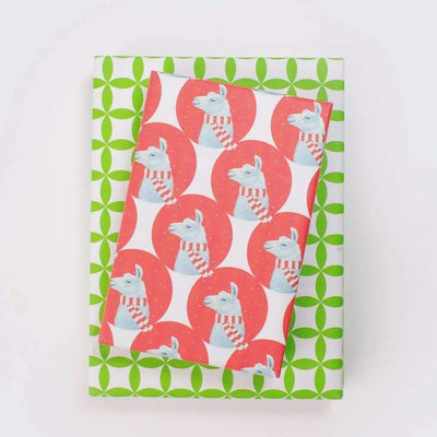 two packages wrapped in llama paper (llamma with a red and white scarf) and paper with green geometric design