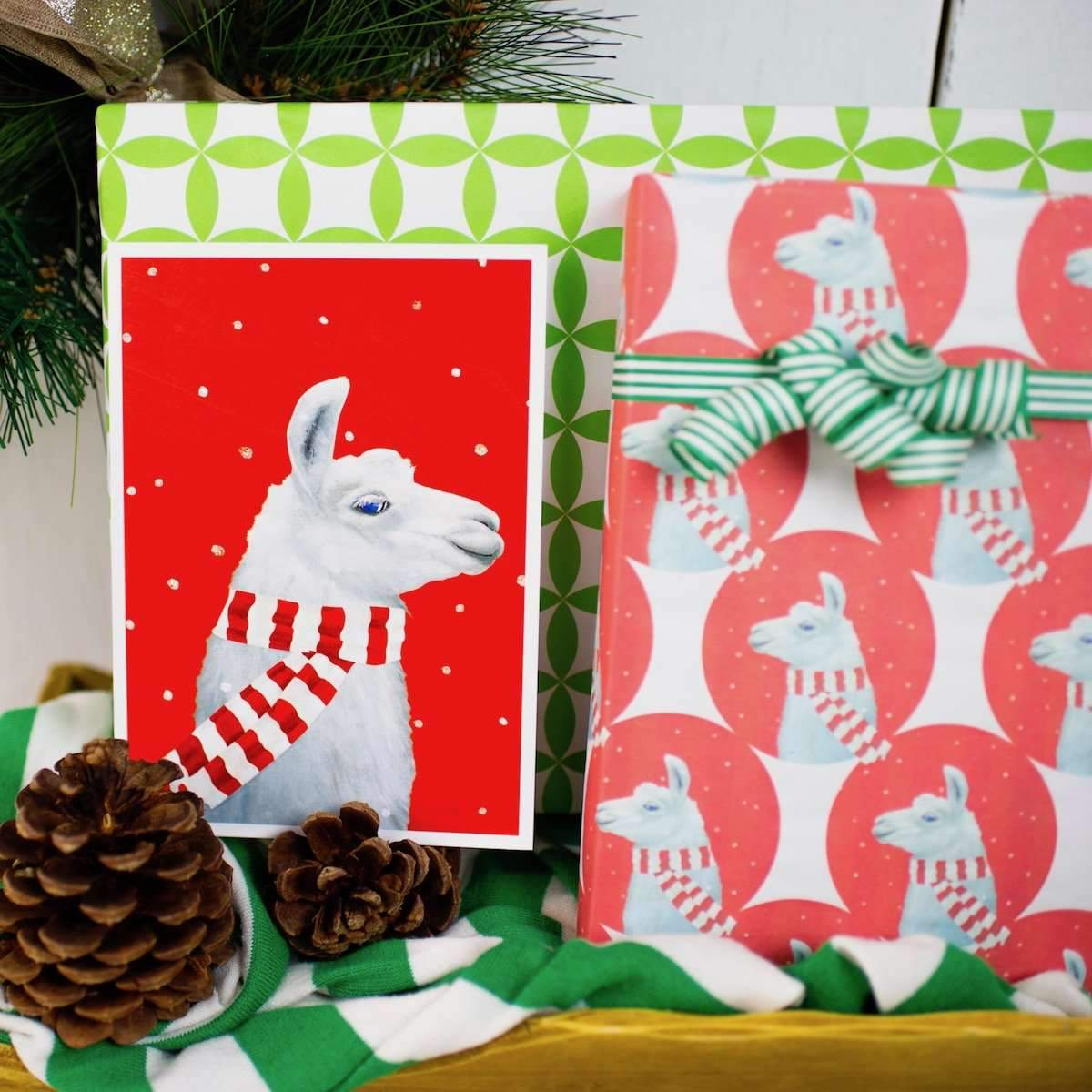 two packages wrapped in llama paper next to a pine cone and postcard of a llama