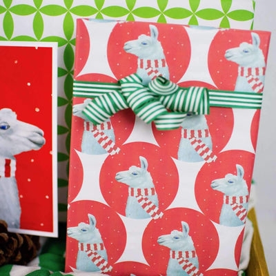 close up of a package wrapped in llama paper with a green bow