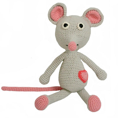 knitted mouse toy with grey body, pink tail, pink ears, pink nose, pink shoes, and pink and red heart symbol located at bottom of abdomen