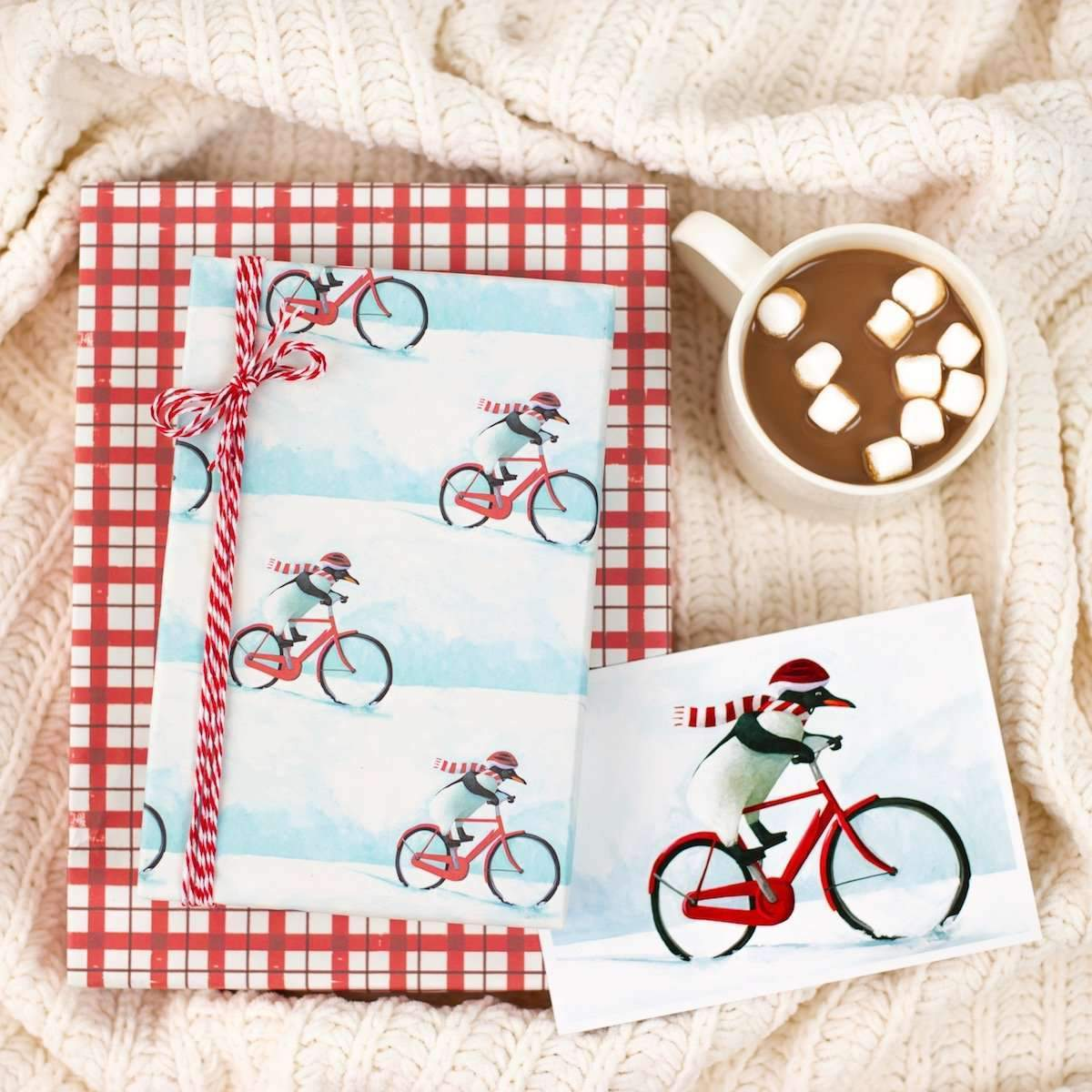 Eco-Friendly Wrapping Paper — Penguin Bike