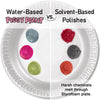 graphic of water based piggy paint vs solvent-based polishes. shows harsh chemicals melting through styrofoam plate.