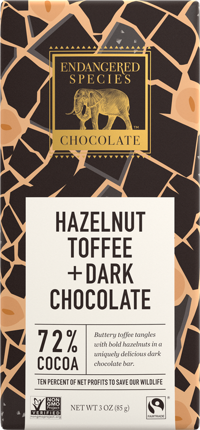 endangered species 3 oz hazelnut toffee + dark chocolate bar , featuring endangered species logo with golden elephant