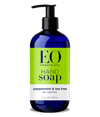 12 fl oz EO hand soap. blue bottle with dispenser lid. green, peppermint and tea tree