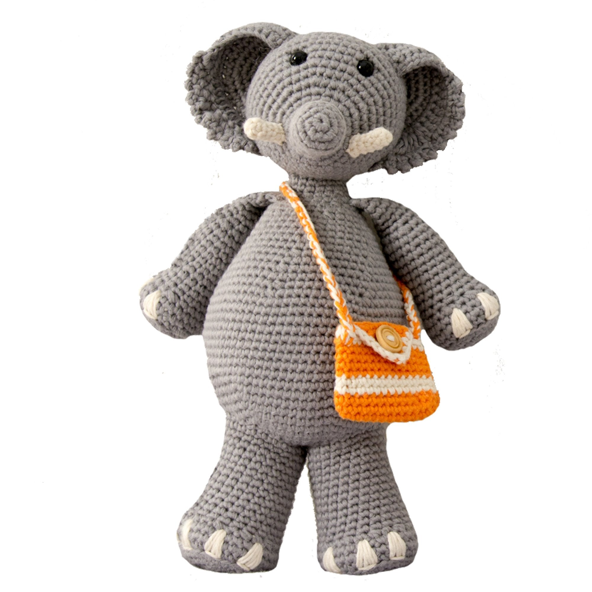 knitted grey elephant toy with orange and white striped satchel. displayed on white backdrop