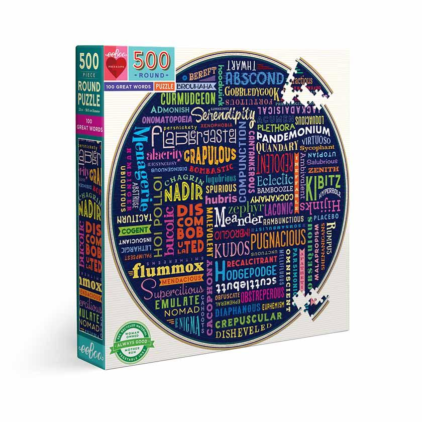 100 Great Words — 500 Piece Round Puzzle