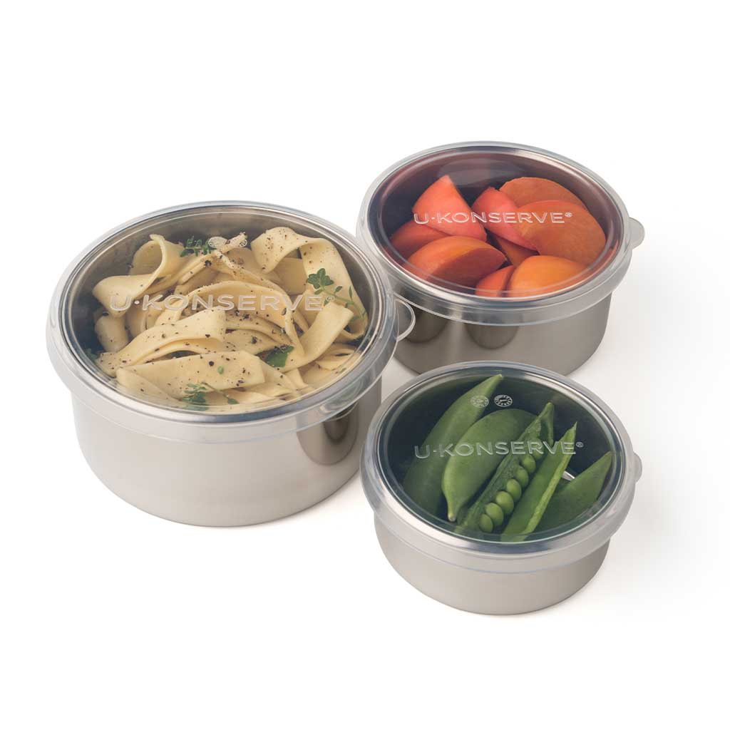 Stainless Steel Containers with Silicone Lids—Round Nesting Trio
