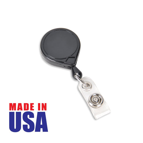 Classic black retractable badge reel made in the USA