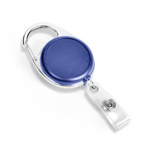 blue carabiner badge reel with retractable 40 inch tape measure