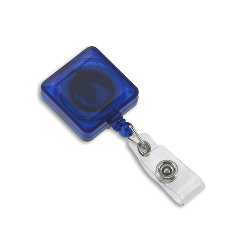 Blue translucent square badge reel front