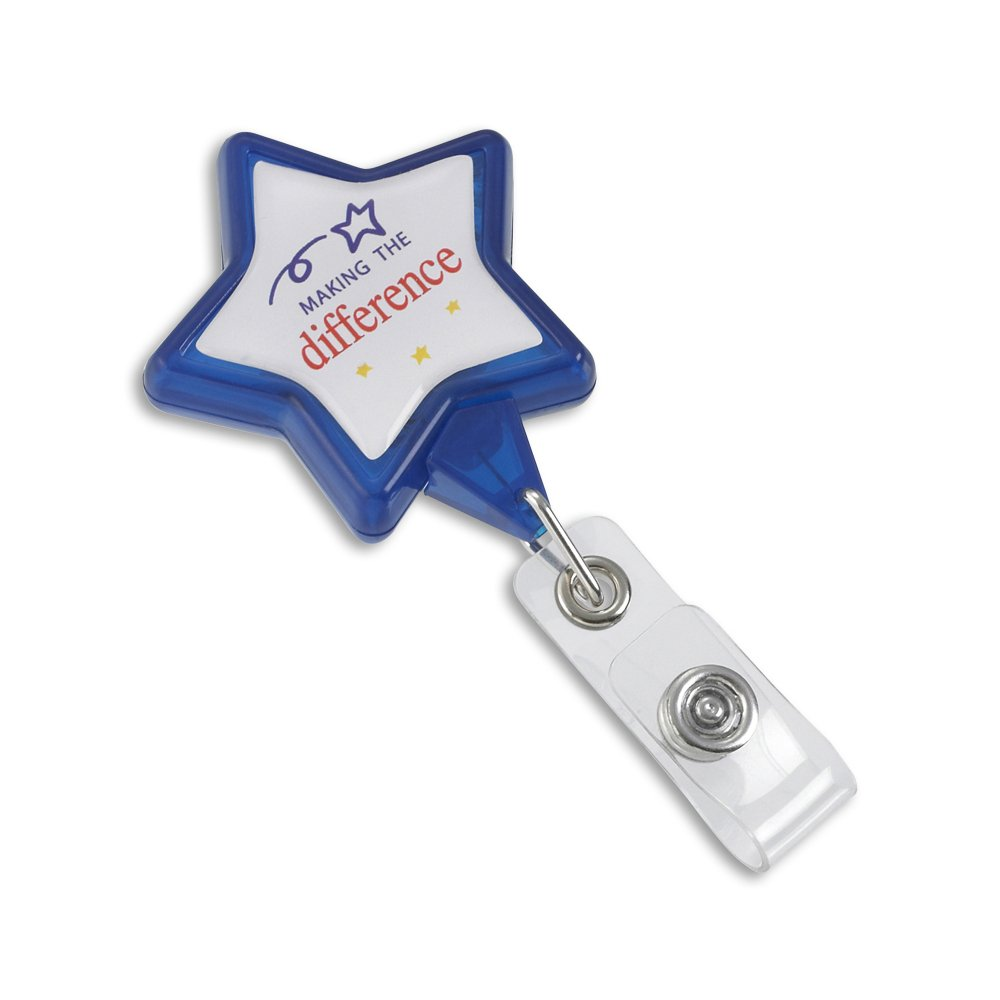 Star shaped retractable badge reel making the difference theme