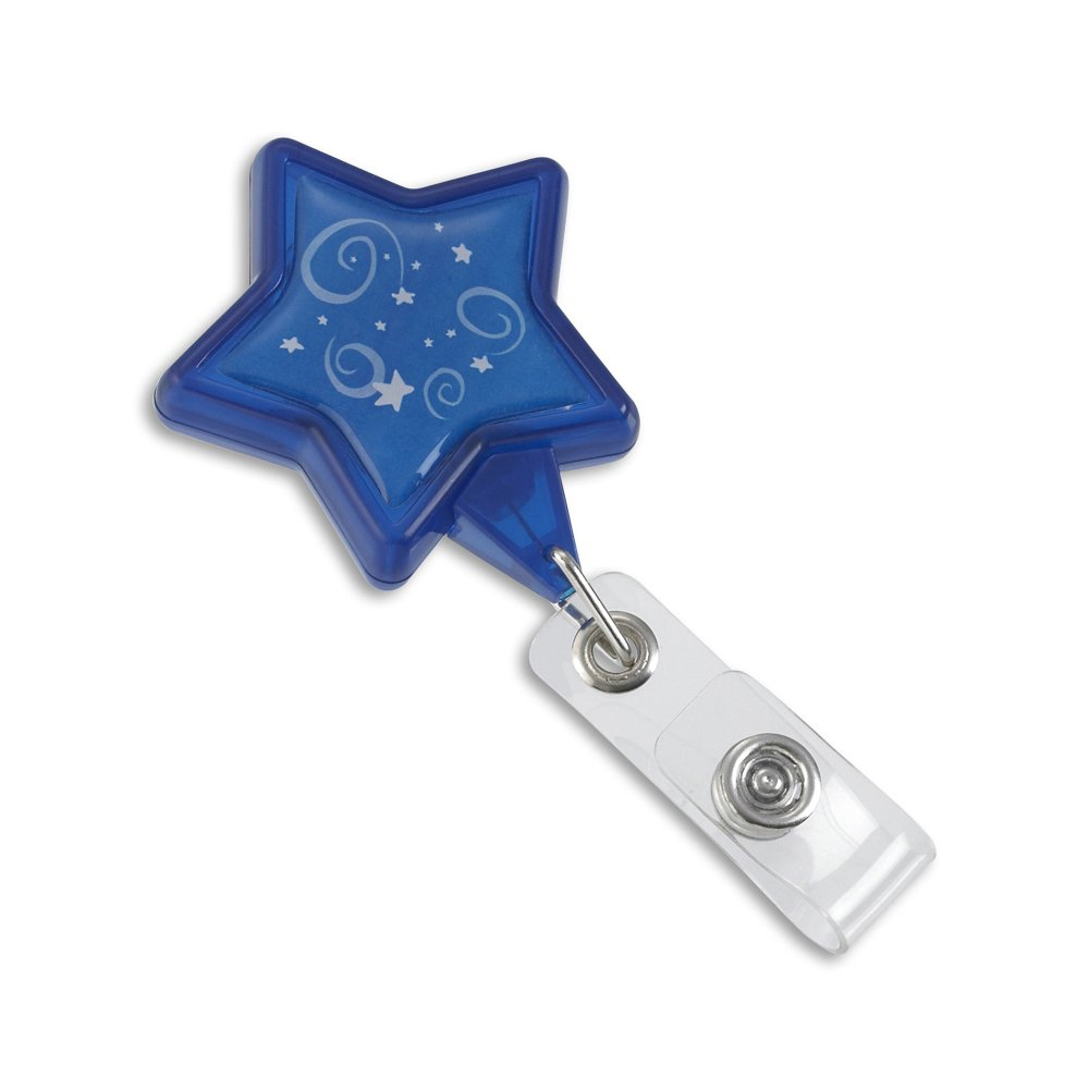 blue star shaped retractable badge reel front