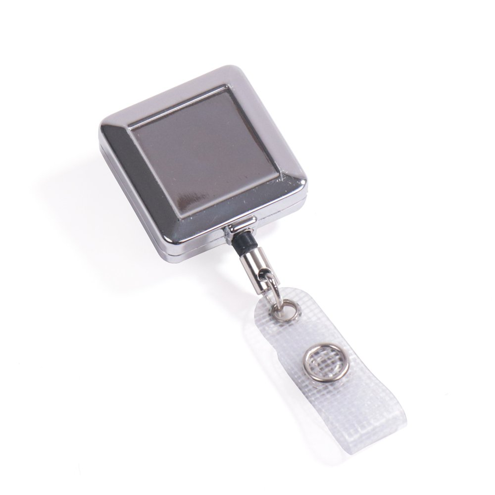 square shaped heavy duty metal chrome retractable badge reels