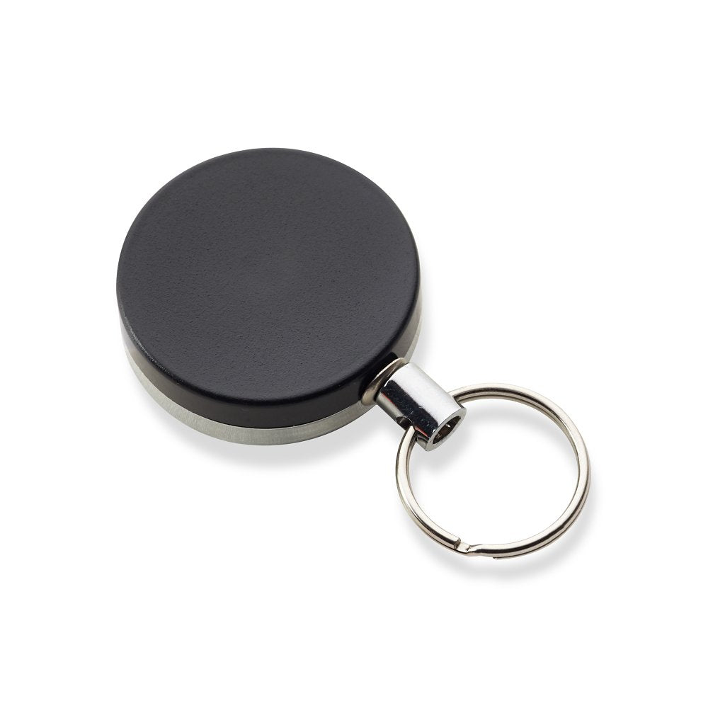 Heavy-duty full metal black badge reel with steal wire and split ring