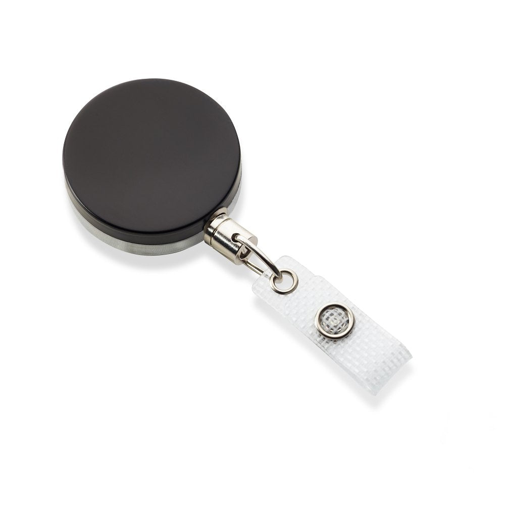 Heavy-duty full metal black badge reel with metal chain and reinforced strap clip