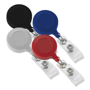 Variety pack of solid color retractable badge reels
