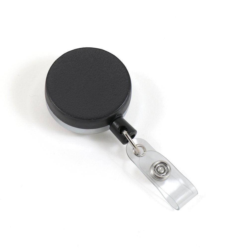 Heavy duty plastic badge reel with nylon cord front view